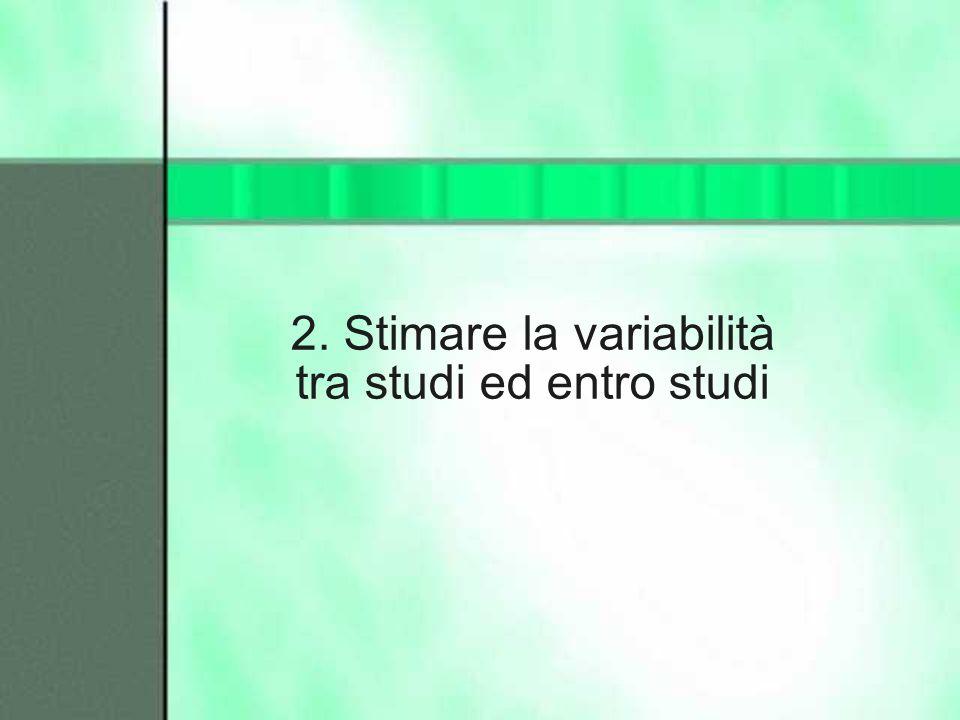 2. Stimare la variabilità tra studi ed entro studi