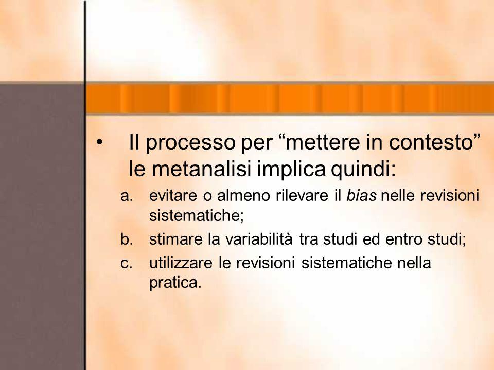 Il processo per mettere in contesto le metanalisi implica quindi: