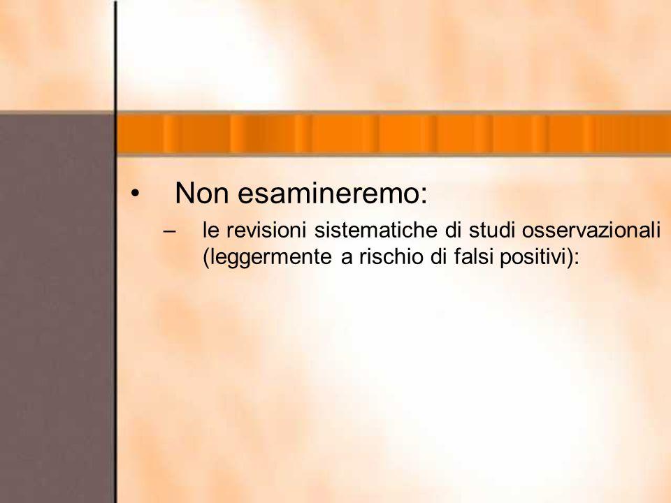 Non esamineremo: le revisioni sistematiche di studi osservazionali (leggermente a rischio di falsi positivi):