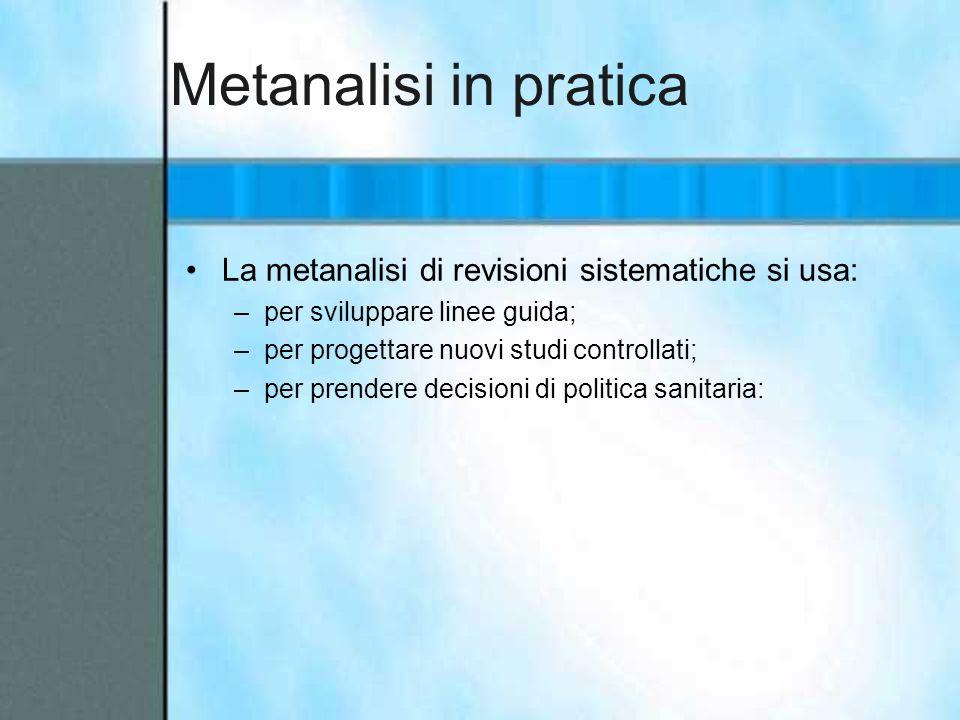Metanalisi in pratica La metanalisi di revisioni sistematiche si usa: