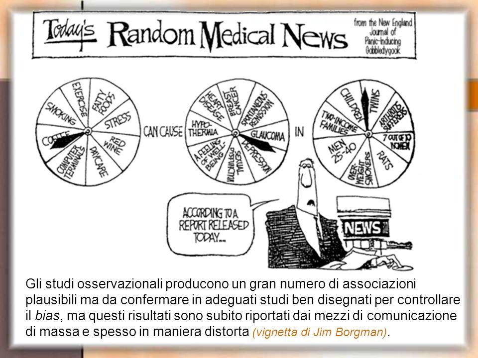 Gli studi osservazionali producono un gran numero di associazioni plausibili ma da confermare in adeguati studi ben disegnati per controllare il bias, ma questi risultati sono subito riportati dai mezzi di comunicazione di massa e spesso in maniera distorta (vignetta di Jim Borgman).