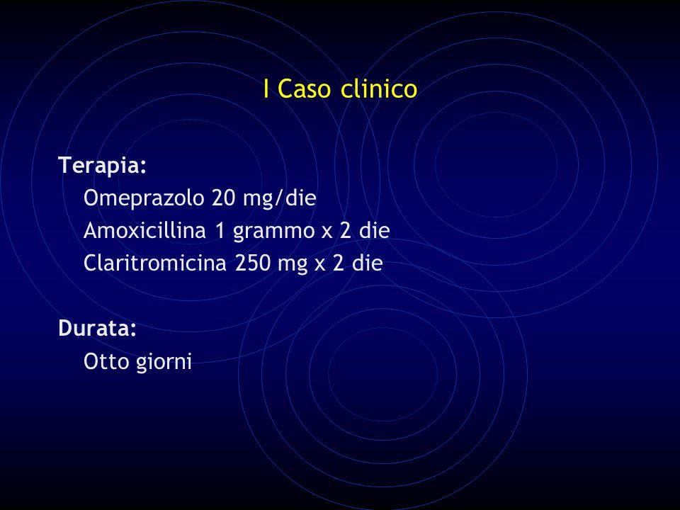 I Caso clinico Terapia: Omeprazolo 20 mg/die