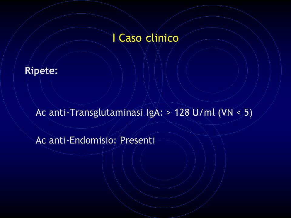 I Caso clinico Ripete: Ac anti-Transglutaminasi IgA: > 128 U/ml (VN < 5) Ac anti-Endomisio: Presenti.