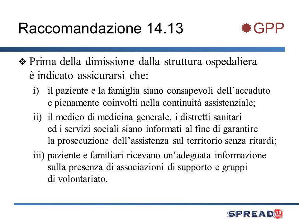 Raccomandazione 14.13 GPP Prima della dimissione dalla struttura ospedaliera è indicato assicurarsi che: