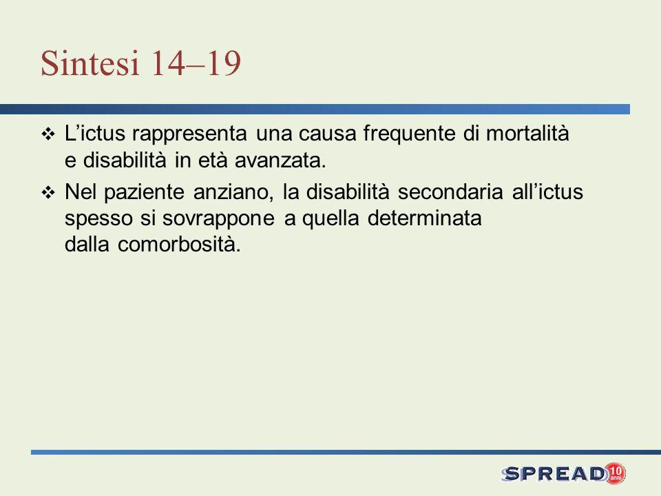 Sintesi 14–19 L'ictus rappresenta una causa frequente di mortalità e disabilità in età avanzata.
