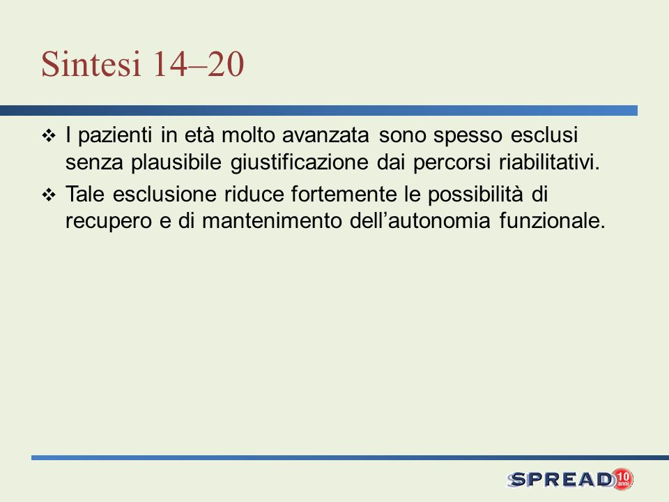 Sintesi 14–20 I pazienti in età molto avanzata sono spesso esclusi senza plausibile giustificazione dai percorsi riabilitativi.