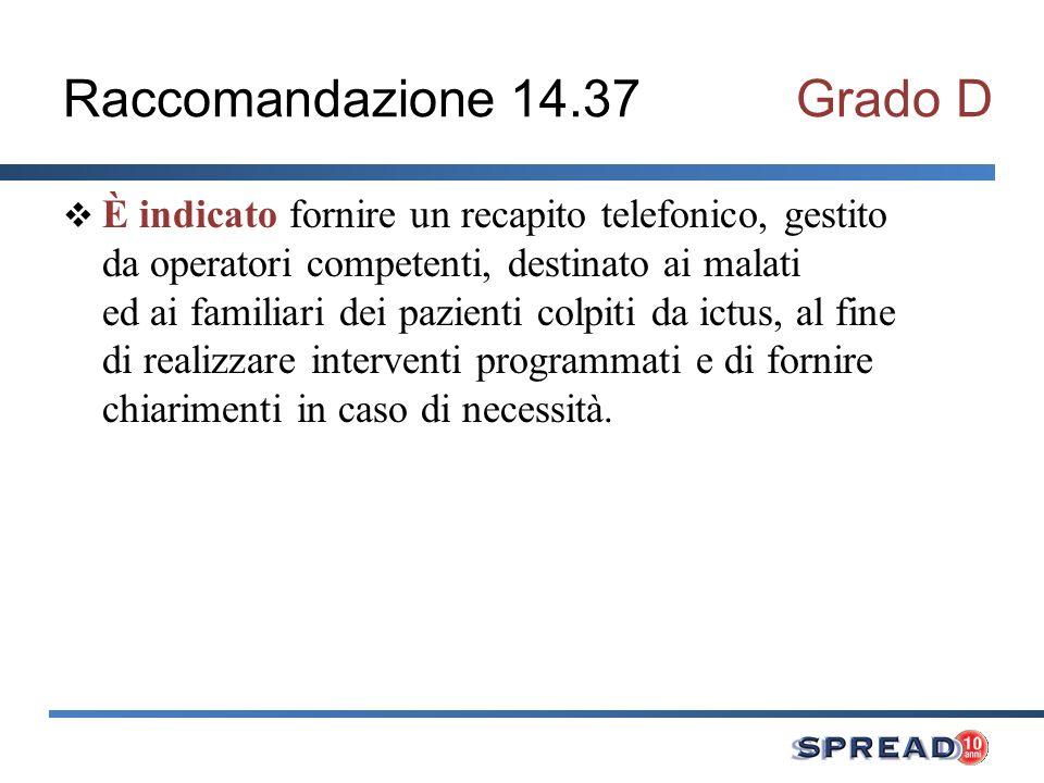 Raccomandazione 14.37 Grado D