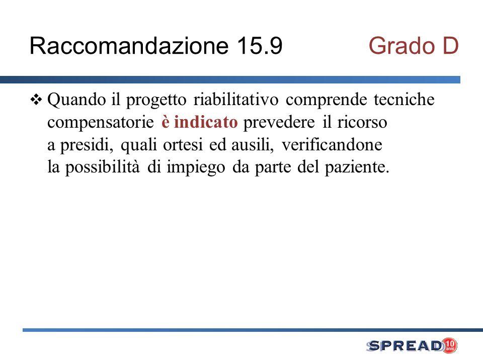 Raccomandazione 15.9 Grado D