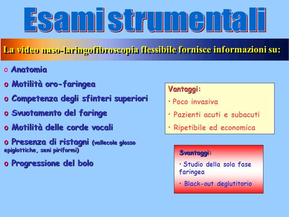 Esami strumentali La video naso-laringofibroscopia flessibile fornisce informazioni su: Anatomia. Motilità oro-faringea.