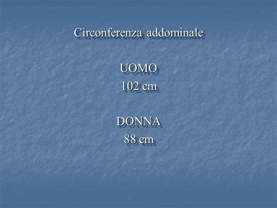 Circonferenza addominale UOMO 102 cm DONNA 88 cm