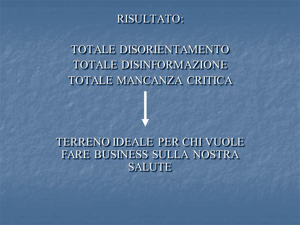 TOTALE DISORIENTAMENTO TOTALE DISINFORMAZIONE TOTALE MANCANZA CRITICA