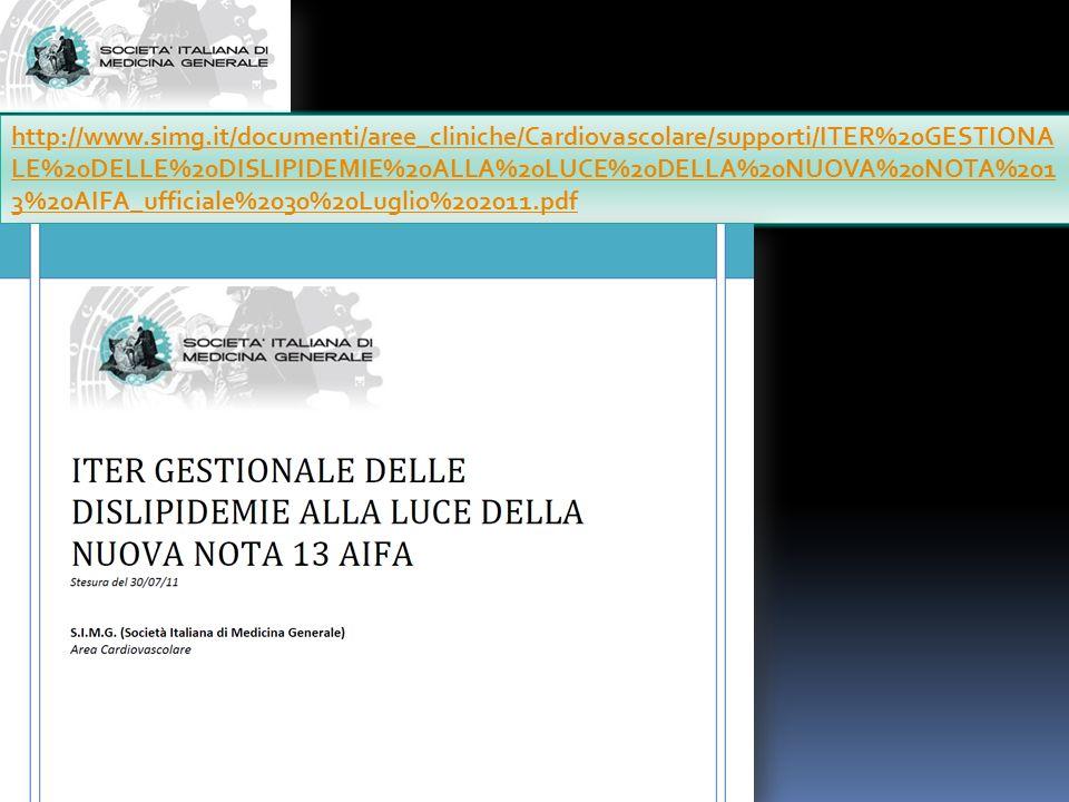 http://www.simg.it/documenti/aree_cliniche/Cardiovascolare/supporti/ITER%20GESTIONALE%20DELLE%20DISLIPIDEMIE%20ALLA%20LUCE%20DELLA%20NUOVA%20NOTA%2013%20AIFA_ufficiale%2030%20Luglio%202011.pdf