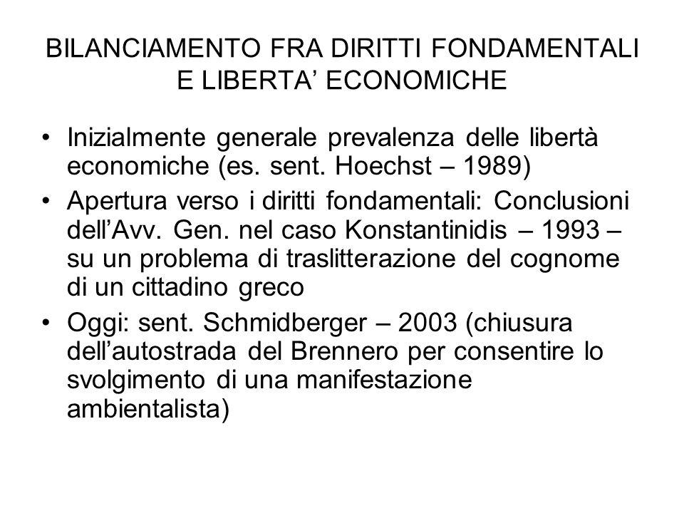 BILANCIAMENTO FRA DIRITTI FONDAMENTALI E LIBERTA' ECONOMICHE