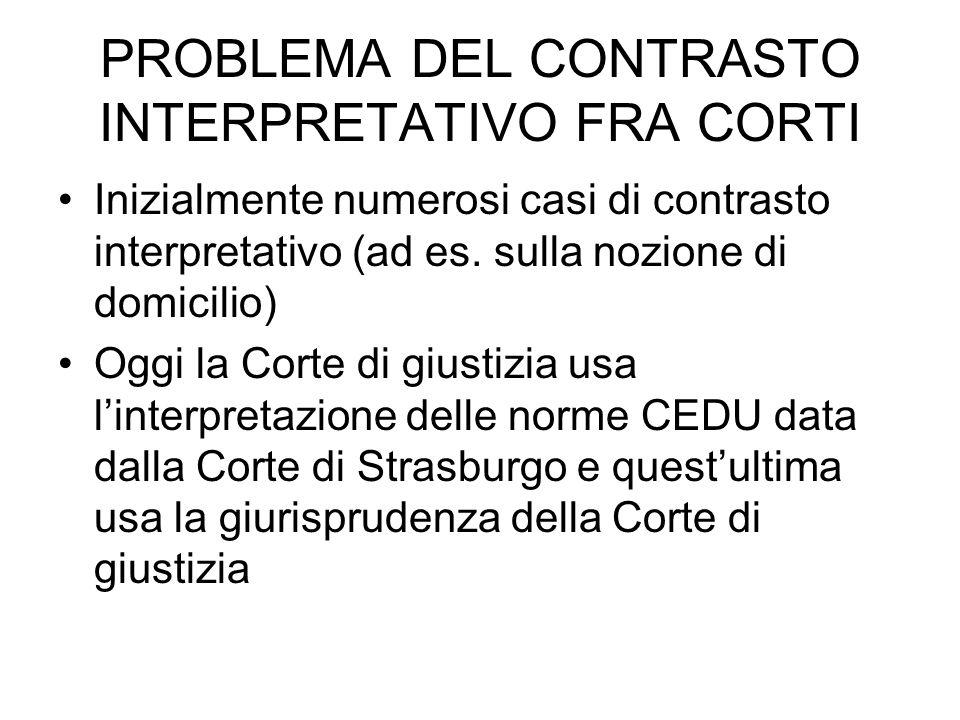 PROBLEMA DEL CONTRASTO INTERPRETATIVO FRA CORTI