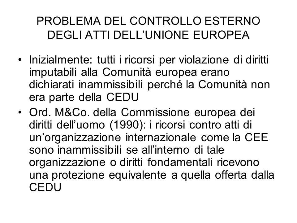 PROBLEMA DEL CONTROLLO ESTERNO DEGLI ATTI DELL'UNIONE EUROPEA
