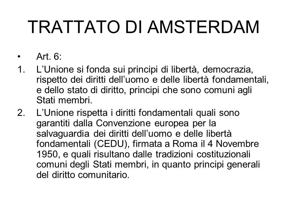 TRATTATO DI AMSTERDAM Art. 6:
