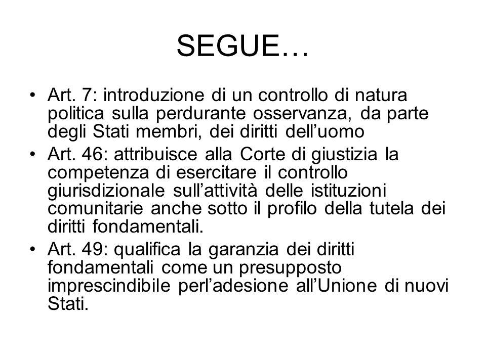 SEGUE… Art. 7: introduzione di un controllo di natura politica sulla perdurante osservanza, da parte degli Stati membri, dei diritti dell'uomo.