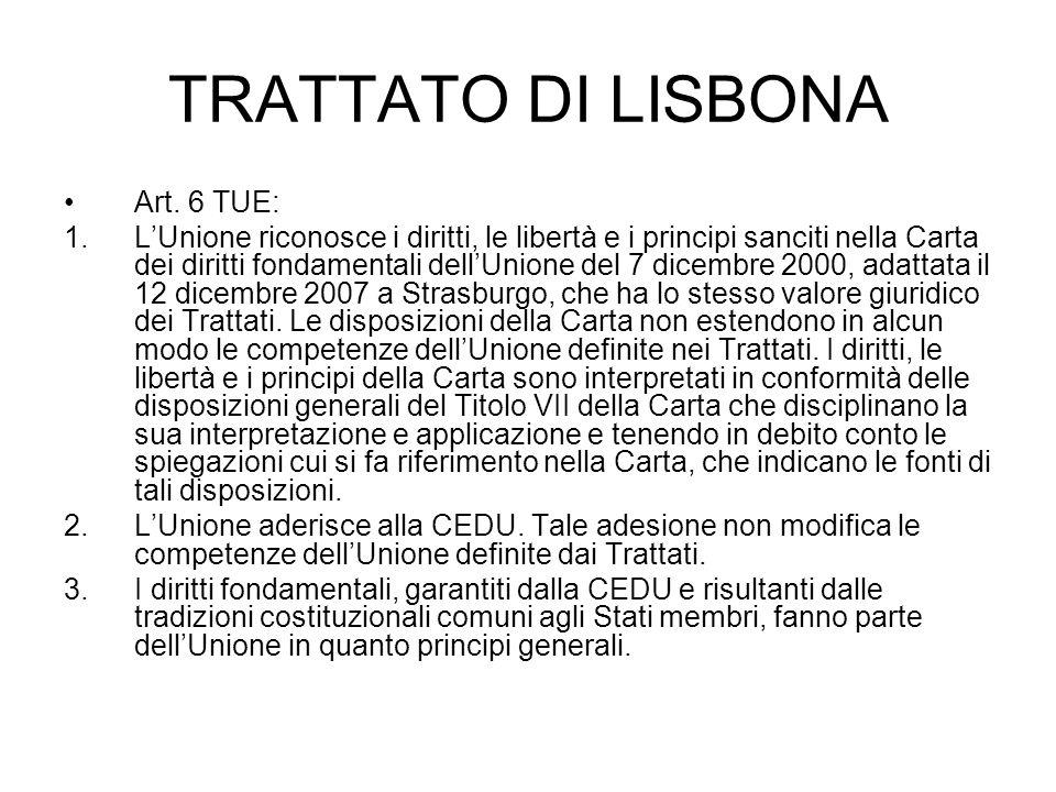 TRATTATO DI LISBONA Art. 6 TUE: