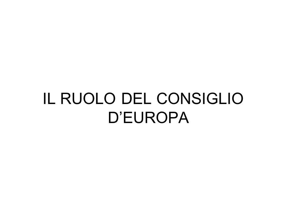 IL RUOLO DEL CONSIGLIO D'EUROPA