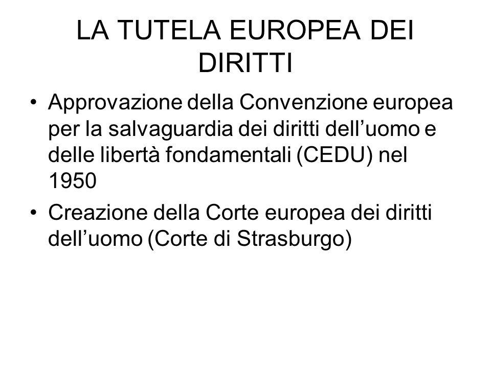 LA TUTELA EUROPEA DEI DIRITTI