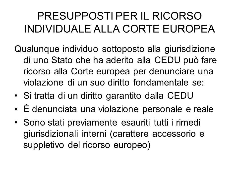 PRESUPPOSTI PER IL RICORSO INDIVIDUALE ALLA CORTE EUROPEA