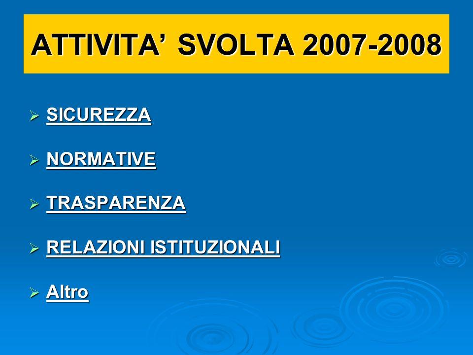 ATTIVITA' SVOLTA 2007-2008 SICUREZZA NORMATIVE TRASPARENZA