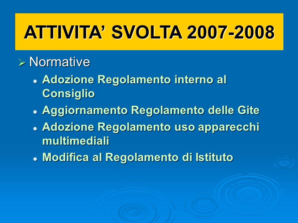 ATTIVITA' SVOLTA 2007-2008 Normative
