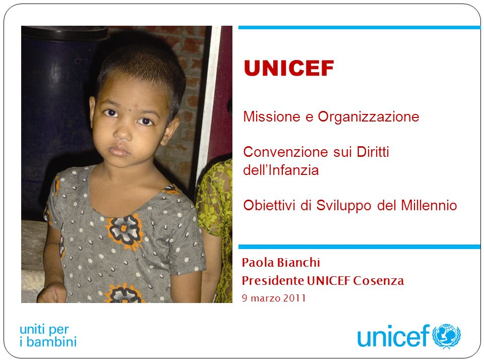 Paola Bianchi Presidente UNICEF Cosenza 9 marzo 2011