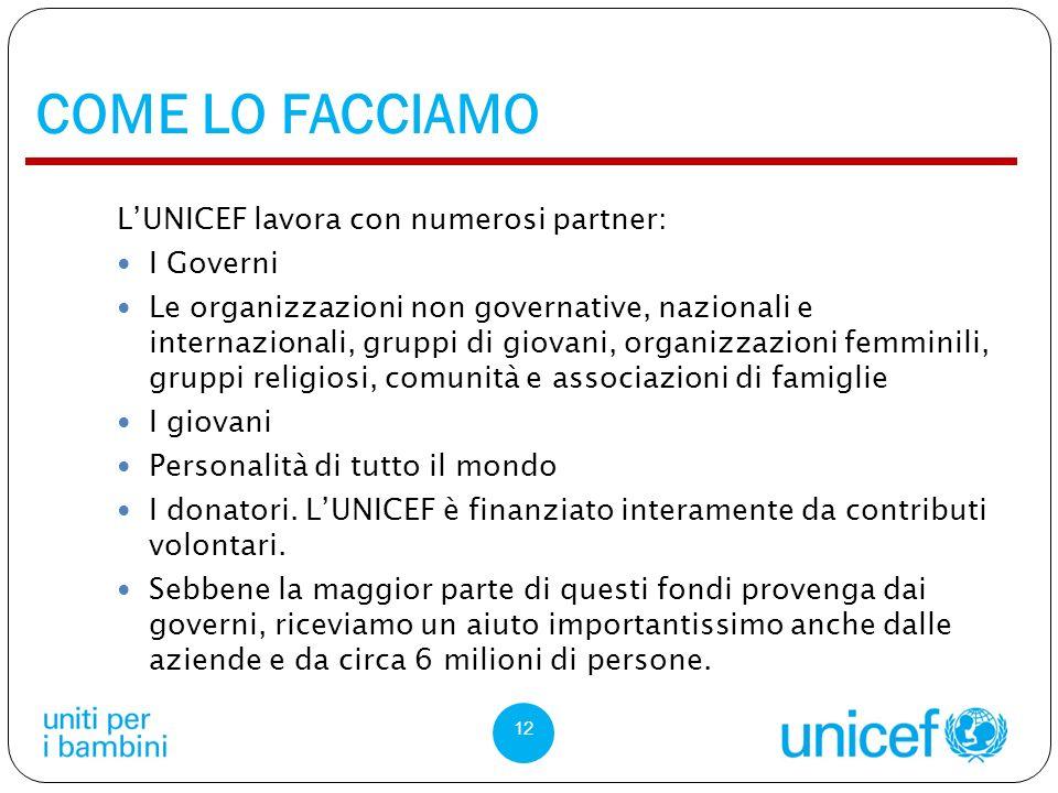 COME LO FACCIAMO L'UNICEF lavora con numerosi partner: I Governi