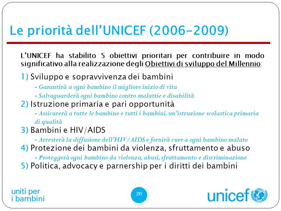 Le priorità dell'UNICEF (2006-2009)