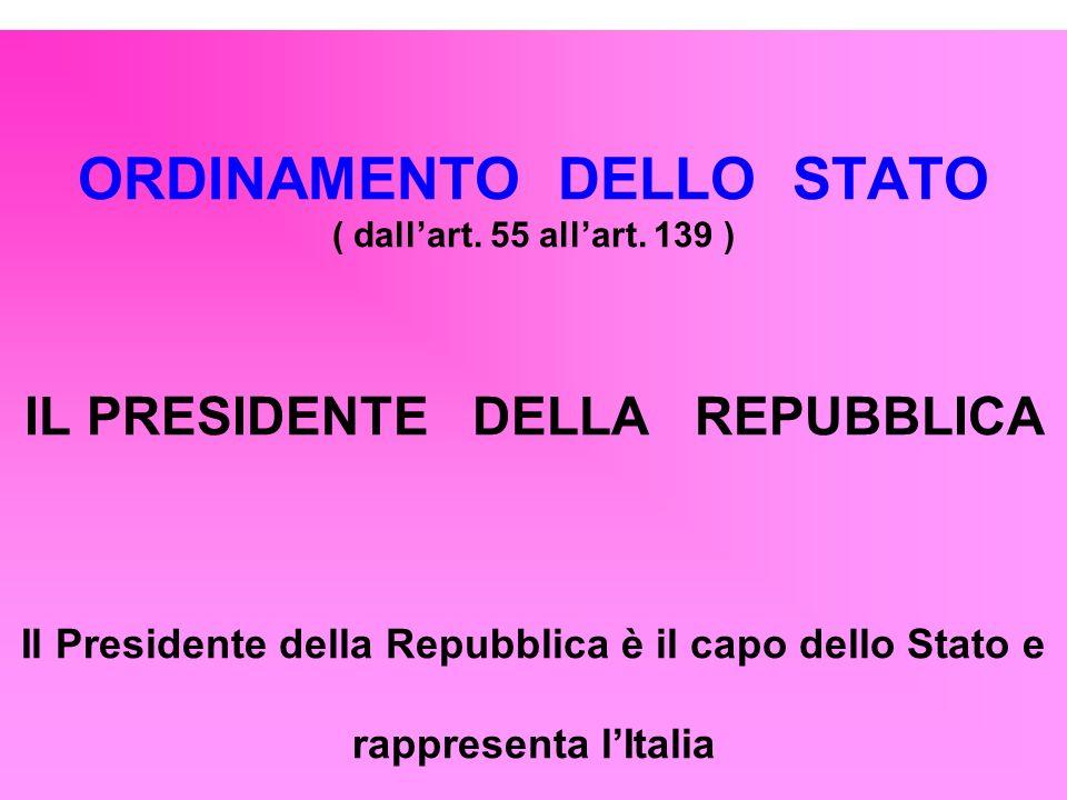ORDINAMENTO DELLO STATO ( dall'art. 55 all'art