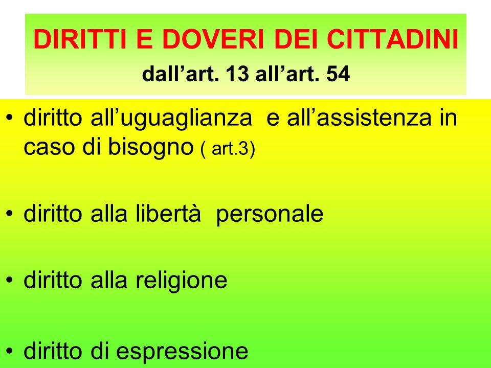 DIRITTI E DOVERI DEI CITTADINI dall'art. 13 all'art. 54