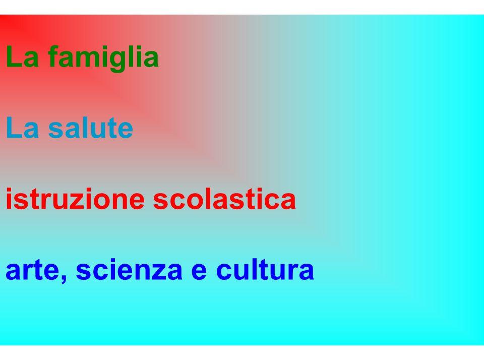 La famiglia La salute istruzione scolastica arte, scienza e cultura