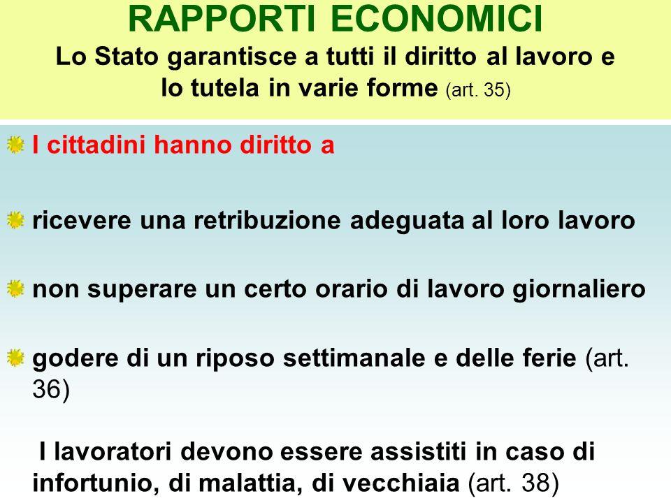 RAPPORTI ECONOMICI Lo Stato garantisce a tutti il diritto al lavoro e lo tutela in varie forme (art. 35)