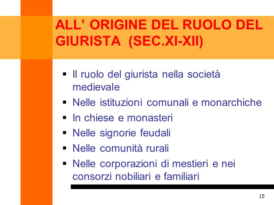 ALL' ORIGINE DEL RUOLO DEL GIURISTA (SEC.XI-XII)