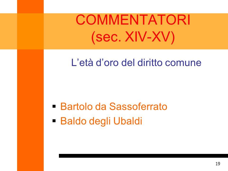 COMMENTATORI (sec. XIV-XV)