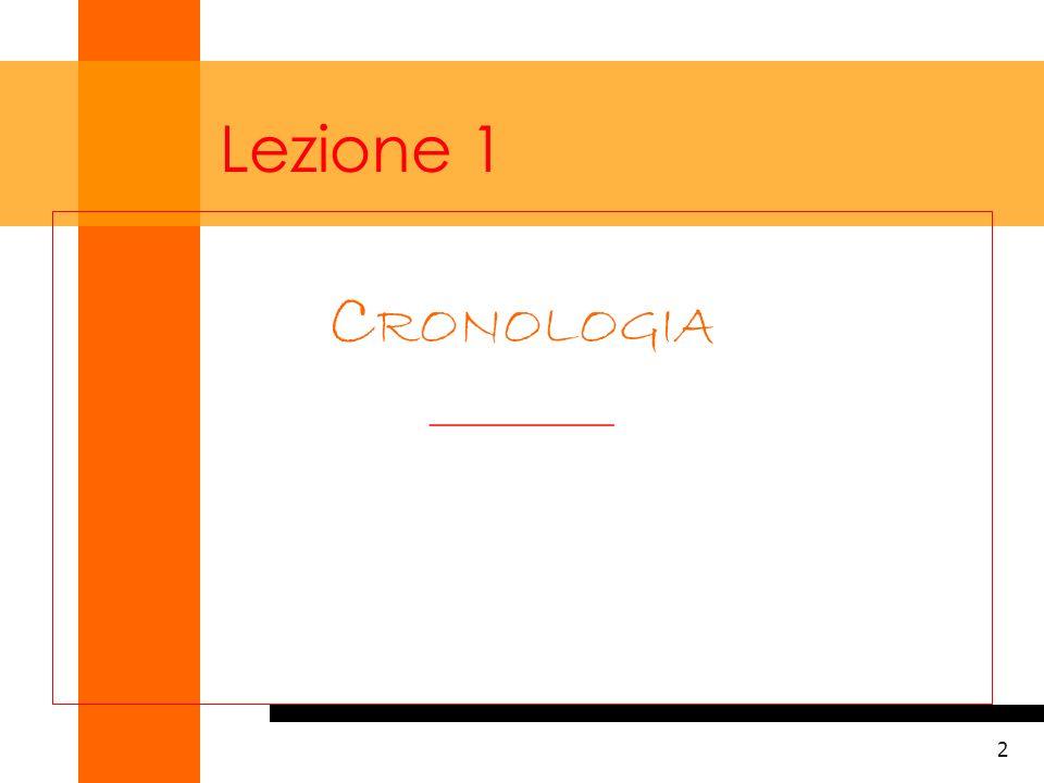 Lezione 1 CRONOLOGIA __________