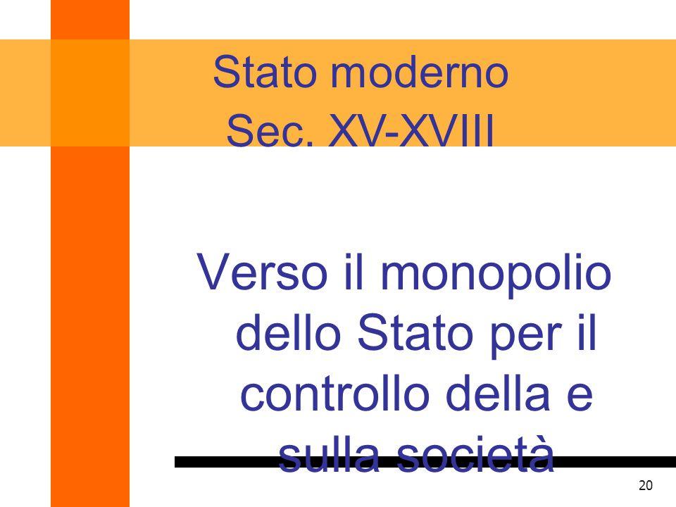 Verso il monopolio dello Stato per il controllo della e sulla società