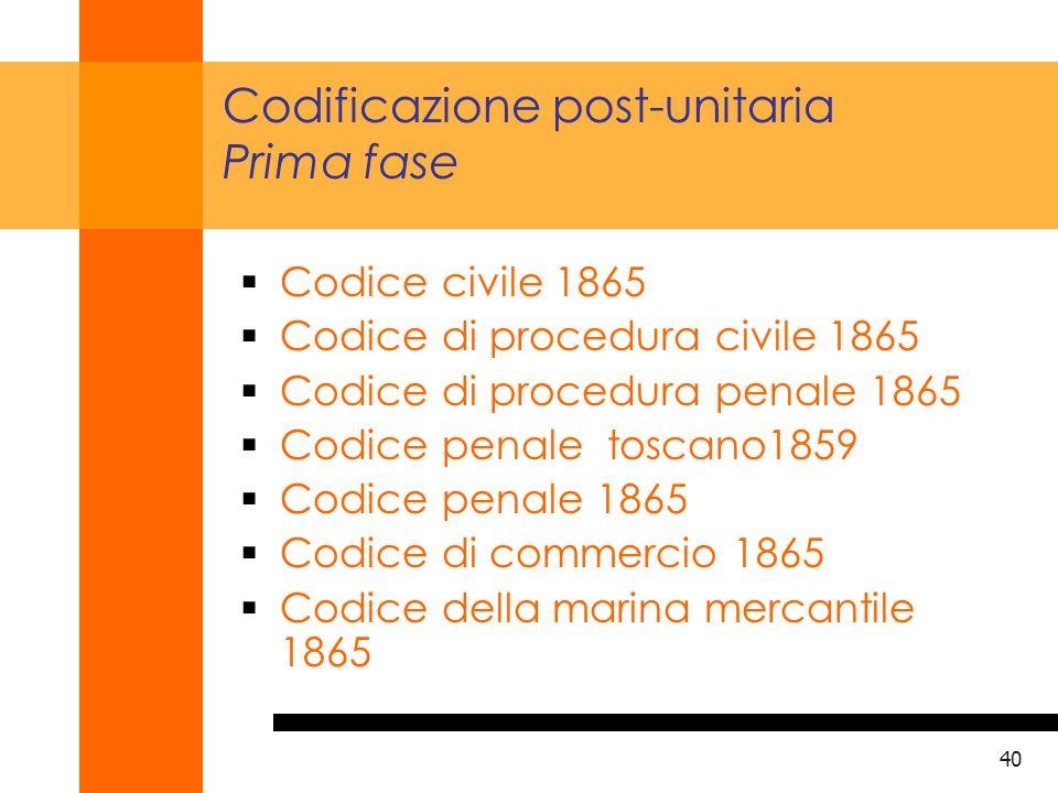 Codificazione post-unitaria Prima fase
