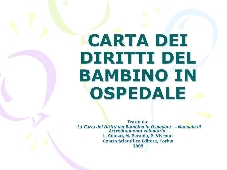 CARTA DEI DIRITTI DEL BAMBINO IN OSPEDALE