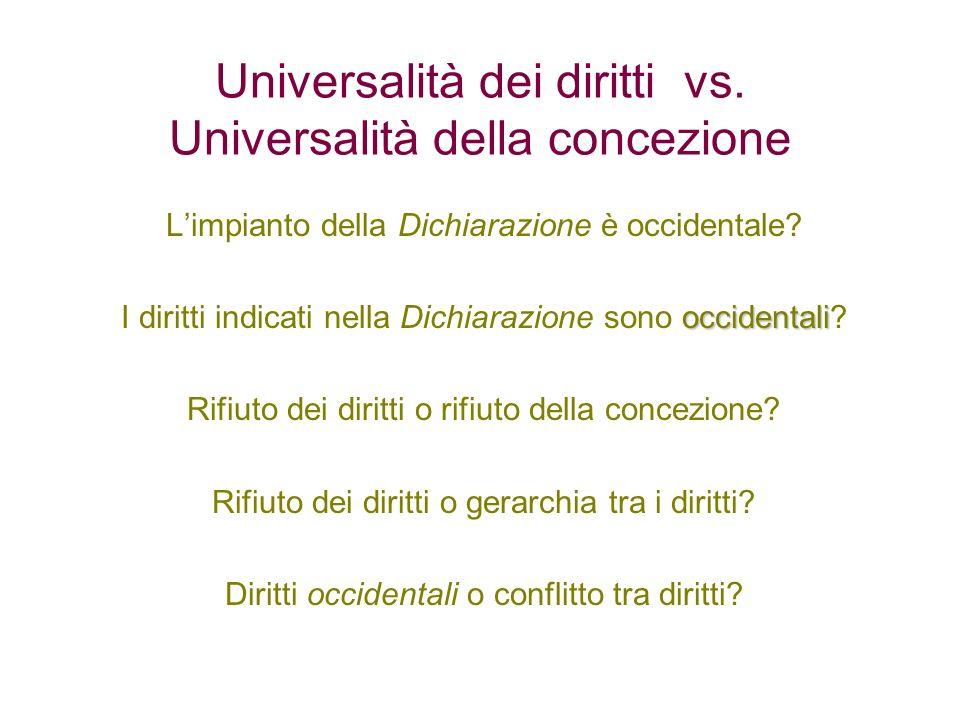 Universalità dei diritti vs. Universalità della concezione