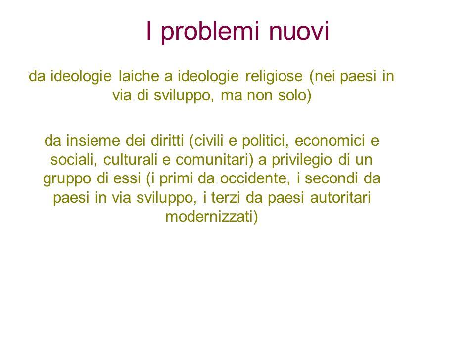 I problemi nuovida ideologie laiche a ideologie religiose (nei paesi in via di sviluppo, ma non solo)
