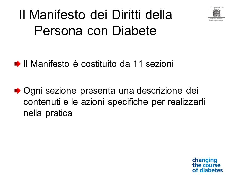 Il Manifesto dei Diritti della Persona con Diabete