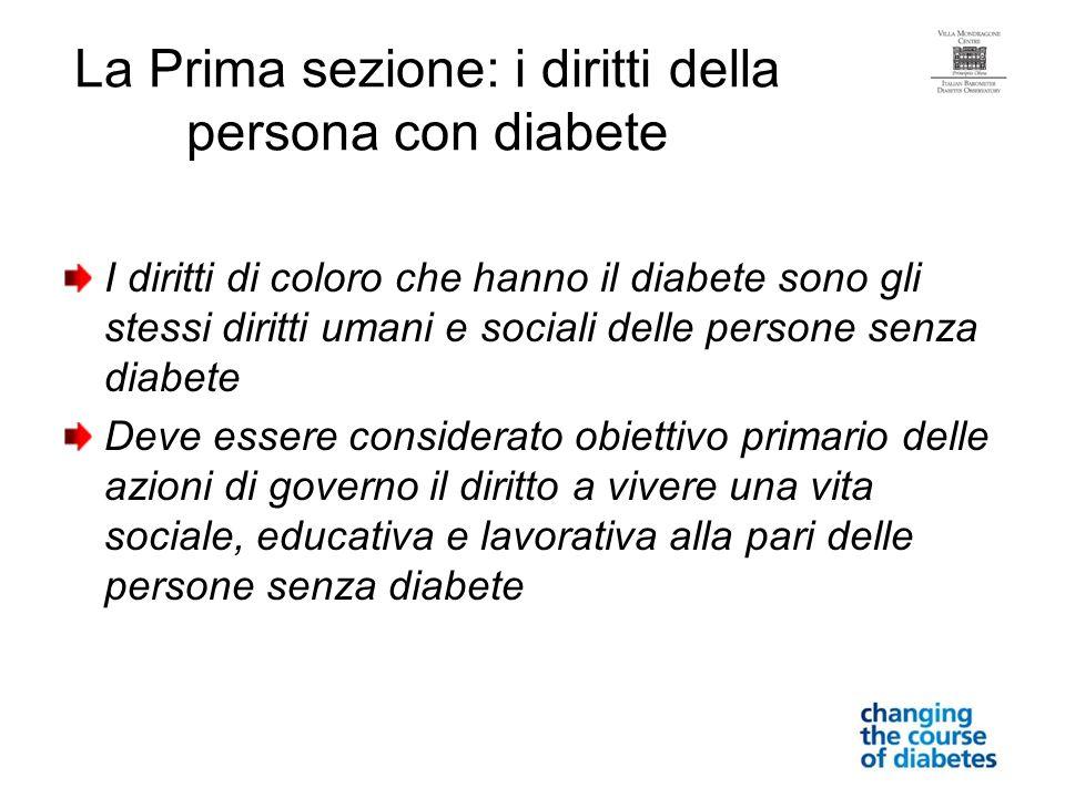 La Prima sezione: i diritti della persona con diabete