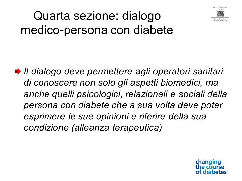 Quarta sezione: dialogo medico-persona con diabete