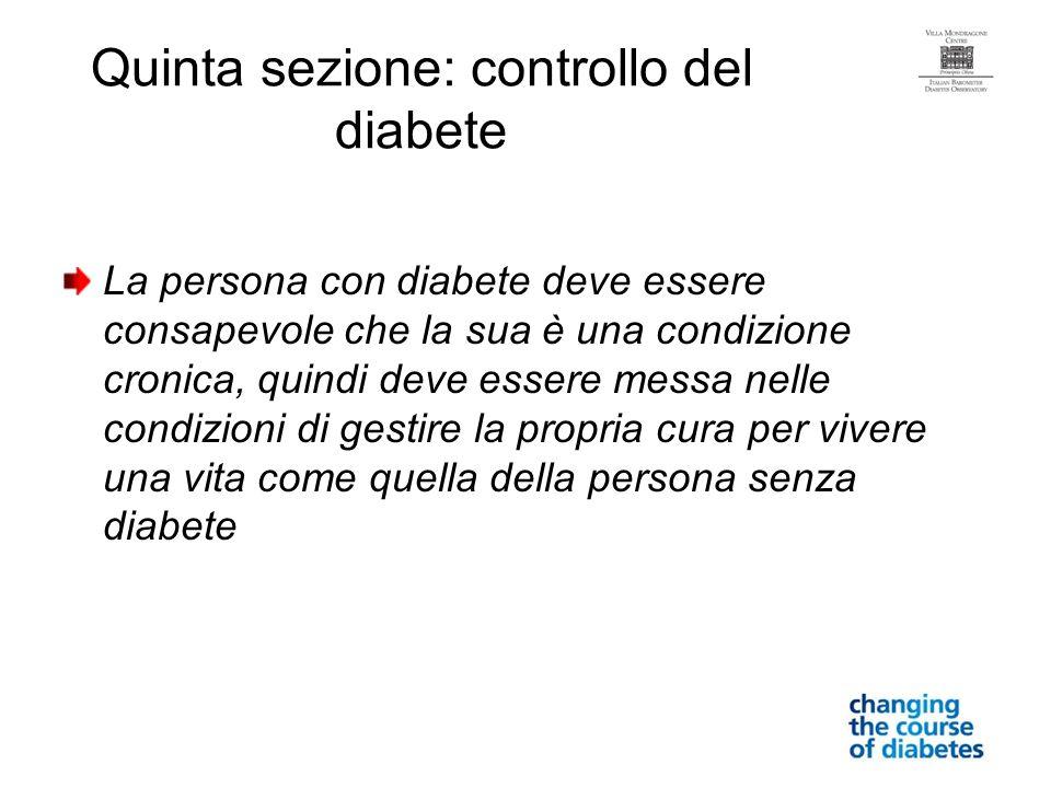 Quinta sezione: controllo del diabete