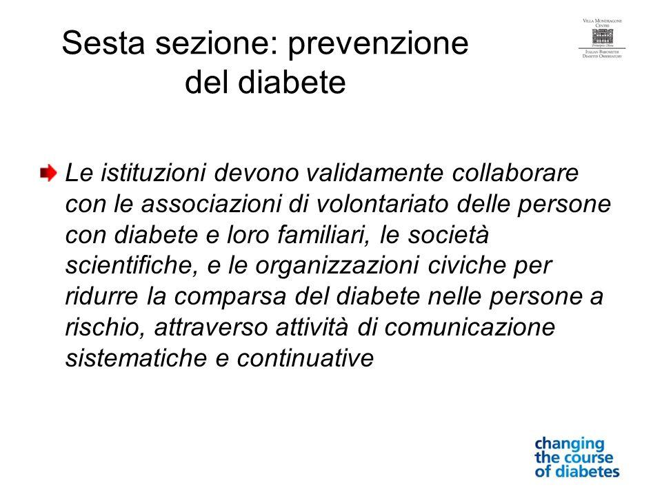 Sesta sezione: prevenzione del diabete
