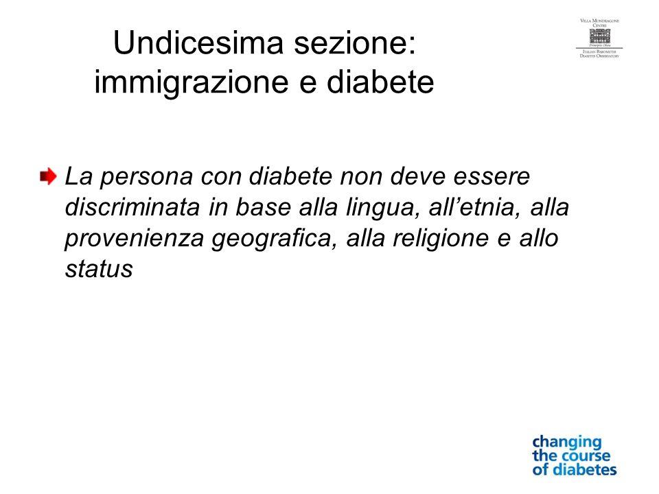 Undicesima sezione: immigrazione e diabete