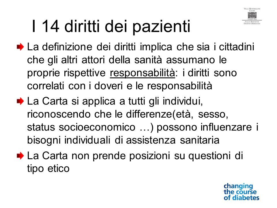 I 14 diritti dei pazienti