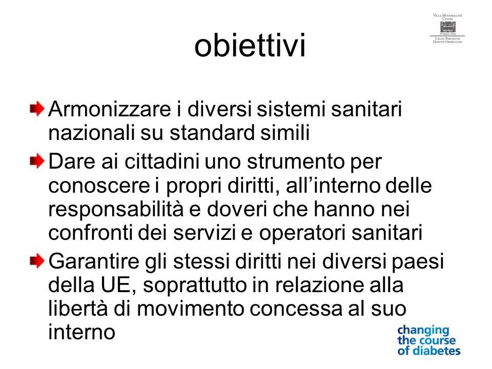 obiettivi Armonizzare i diversi sistemi sanitari nazionali su standard simili.